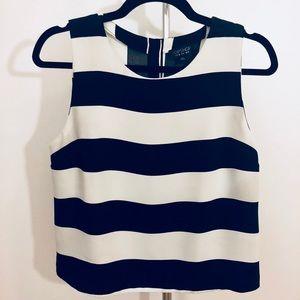 TopShop crop top color block striped black white